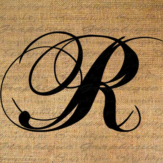 items similar to monogram initial letter r digital collage sheet burlap digital download. Black Bedroom Furniture Sets. Home Design Ideas