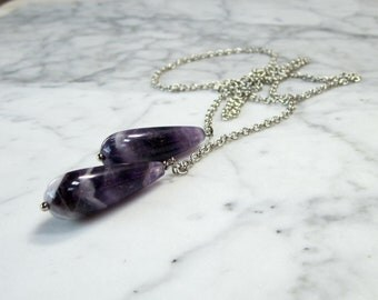 Cape Amethyst Pendulum with Silver Chain Crown Chakra Balancing and Healing Necklace