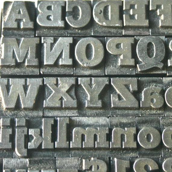 Vintage Printers Type Complete Alphabet Upper Lower Case Numbers Punctuation for Printing Stamping