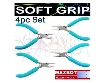 4pc Mazbot Pro Soft Grip Jewelry Making Pliers 4.5in Beading Tools Set SFPSET