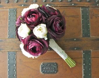 Ranunculus Bouquet in Purple with Cream Accents, 10'' Handmade Silk Bouquet