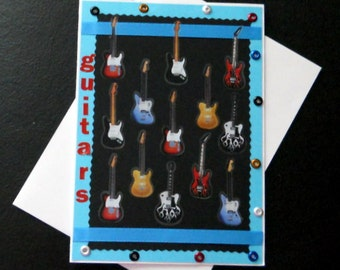 Colorful Guitars Blank Greeting Card - Music, Musical, Instrument, Strings, Rock, Red, Teal Blue, Black, White, Tan, All Occasion