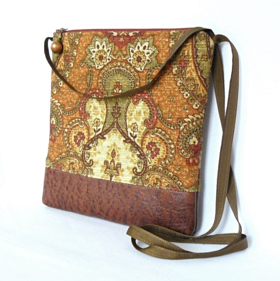 Cross Body Bag, Fabric Hip Bag, Purse Pouch - Spice Bazaar in Gold and Brown