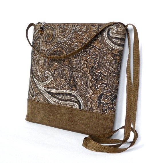 Cross Body Bag, Fabric Hip Bag, Pouch Purse - Mocha Frappe in Brown and Taupe