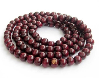 8mm Purple Wood 108 Beads Tibet Buddhist Buddha FO Prayer Stretchy Rosary Beaded Mala  ZZ231