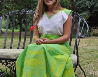 Be Vibrant... Vintage 1970s Vibrant Green & Yellow Maxi Skirt and Sleeveless Top