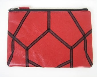 Red Leather iPad case/Clutch