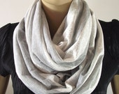 Infinity Scarf in Gray White Stripes...Lightweitgh Lace Cotton....Circle Scarf...Nomad Cowl....Chunky Scarf