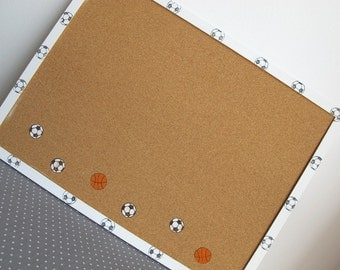 Decorative Memo Cork Board- sport theme, Back to School - Soccer and basketball-  White and orange hand painted Bulletin board for boys