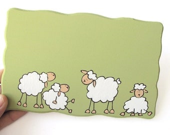 Personalized Door sign- Sheep door sign for children, family sign, welcome sign, name plate, sheep wall art