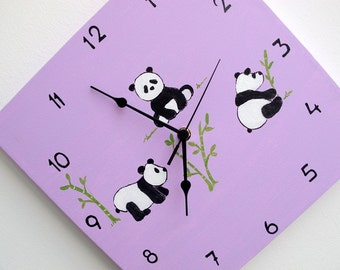 kids clock- panda bears - purple clock for nursery, kids room - Hand painted on canvas, square unique clock for children, girls clock