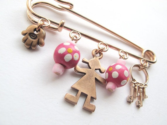 Decorative Lucky Safety pin - Pink baby protection pin with pendants, baby jewelry, baby girl decoration pin