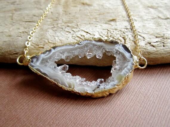Agate Druzy Necklace Sideways Drusy Quartz Geode Slice 14K Gold Fill
