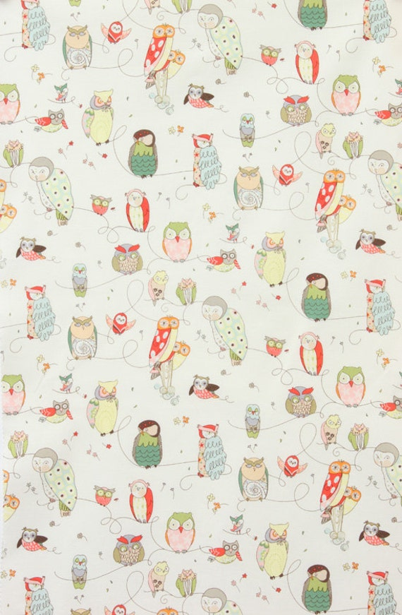 Spotted Owl Natural - Alexander Henry - Fabric  - 34 inches - END of Bolt