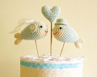 Fish Cake Topper, Mint Wedding Cake Topper, Fish Wedding Beach Decoration