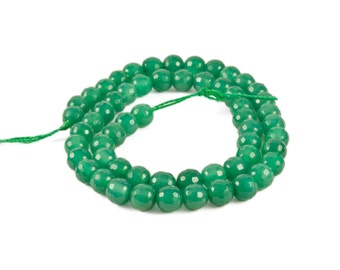 """AA 6mm Green Onyx Round Disco Faceted Beads - Full 15.5"""" Strand"""