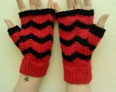 Fingerless gloves, black and red, embossed stripes pattern, adult size small/medium, vegan