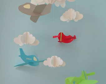 Baby Mobile - Airplane Baby Mobile, Plane Mobile, Hanging Baby Mobile, Nursery Mobile, 3D Paper Mobile