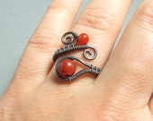 Carnelian rustic ring, red copper ring, red stone ring, rustic carnelian jewelry, birthstone jewelry