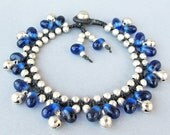 Navy Blue Glass Bead and Silver Colour Bead Bracelet