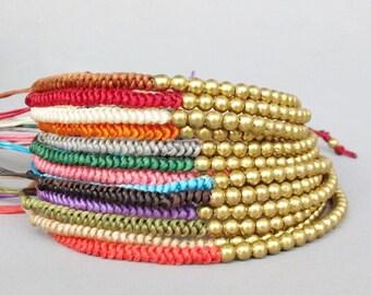 Friendship Ivory Wax Cord with Round Brass Bead Knot Bracelet B165