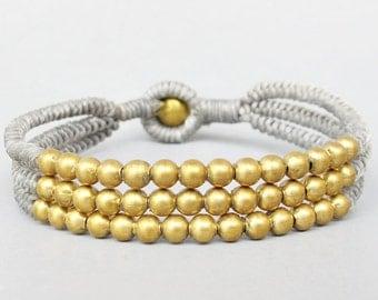 Multi Line Brass Bead Gray  Wax Cord Snake Knot Bracelet B188