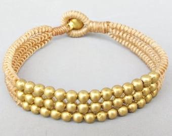 Multi Line Brass Bead Sandybrown  Wax Cord Snake Knot Bracelet B188