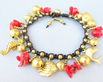 Golden Marine Life and Red Coral Stone Cascade Bracelet