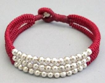 Multi Line Silver Colour Bead Dark Red  Wax Cord Snake Knot Bracelet