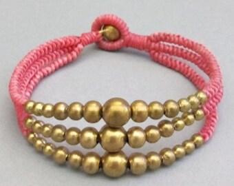 Multi Strand Brass Bead Pink Wax Cord Snake Knot Bracelet