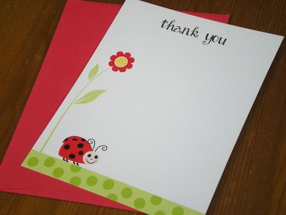 Lady bug Thank you cards - Set of 12