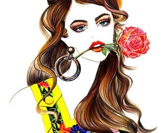 "Watercolour Fashion Illustration 13""x16"" print - Rose"