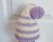 Newborn Elf Pixie Beanie in Light Purple and Cream Pompom Baby Photo Prop Shabby Chic Hippie Style