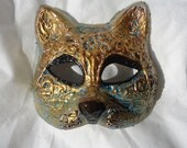Masquerade Cat mask, black aqua and golden accents, ooak kitty kitten mask, Halloween costume mask