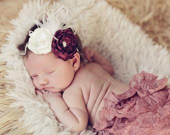 Fabulous Vintage Inspired Red Burgundy Wine Flower Headband - Newborn Baby Girl Toddler Headband - Great Photo Prop
