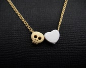 Adorable Kawaii Skull Love Heart Necklace in Gold & Silver