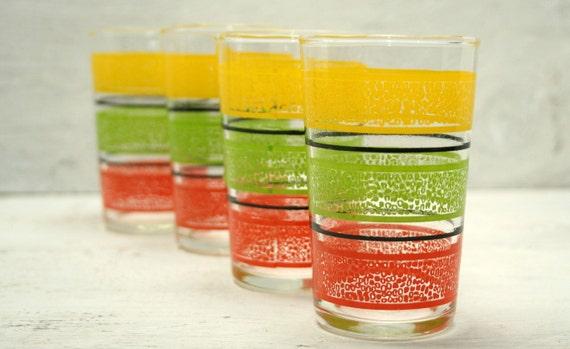 Vintage Striped Juice Glasses - Set of 4
