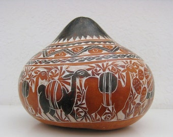 South American Peruvian Folk Art Hand Carved Gourd