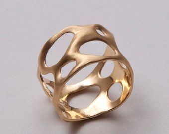 Organic 14k gold ring, Wedding Ring, Unisex Ring, Wedding Band, wide band, bubbles band