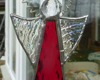 Stained Glass Christmas Angel Suncatcher  with Rich Ruby Red Dress