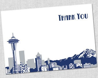 Seattle Skyline Thank You Notes - Set of 10