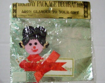 Vintage Christmas angel gift tag name tag package decoration Commodore Japan felt new in package unused