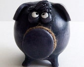 BABY Boy Piggy Bank -- Blue Purple Cute Pig with Personality and Bangs