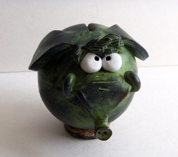 Green ceramic piggy bank elephant shaped by clayfulstudio on etsy - Ceramic elephant piggy bank ...