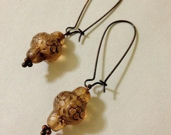 Long Spindle Earrings Vintage Amber Copper Lanterns
