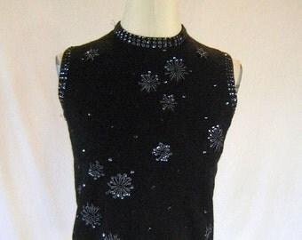 1950s Wool Sweater Top Iridescent Floral Sequin Beaded Shirt