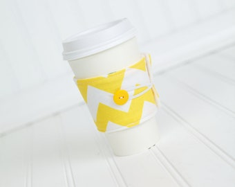 Lemon Yellow Chevron Coffee Sleeve Coffee Cozy for Women, Reusable Coworker Gift