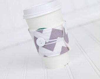 Grey Chevron Coffee Sleeve Coffee Cozy for Women or Men, Coworker Gift Idea