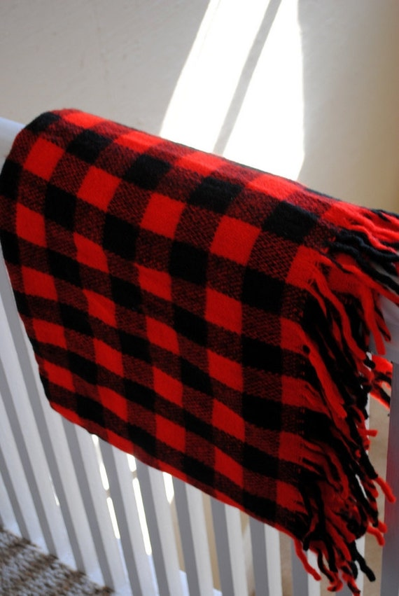 Red and Black Buffalo Check Acrylic Throw