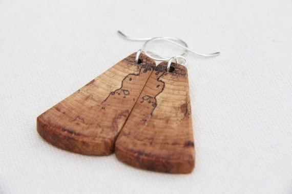 spalted beech and sterling silver earrings